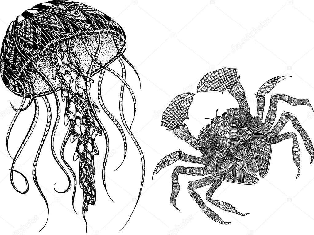 Mano dibujada zentangle cangrejo y medusas para colorear libro ...