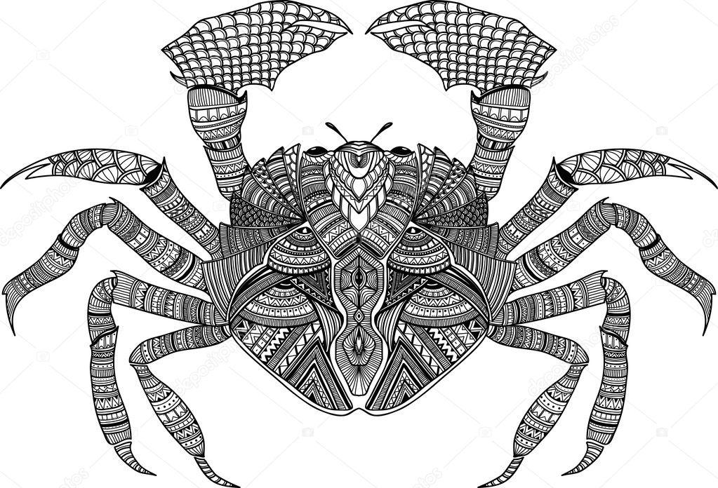 getekende zentangle krab voor boek volwassen
