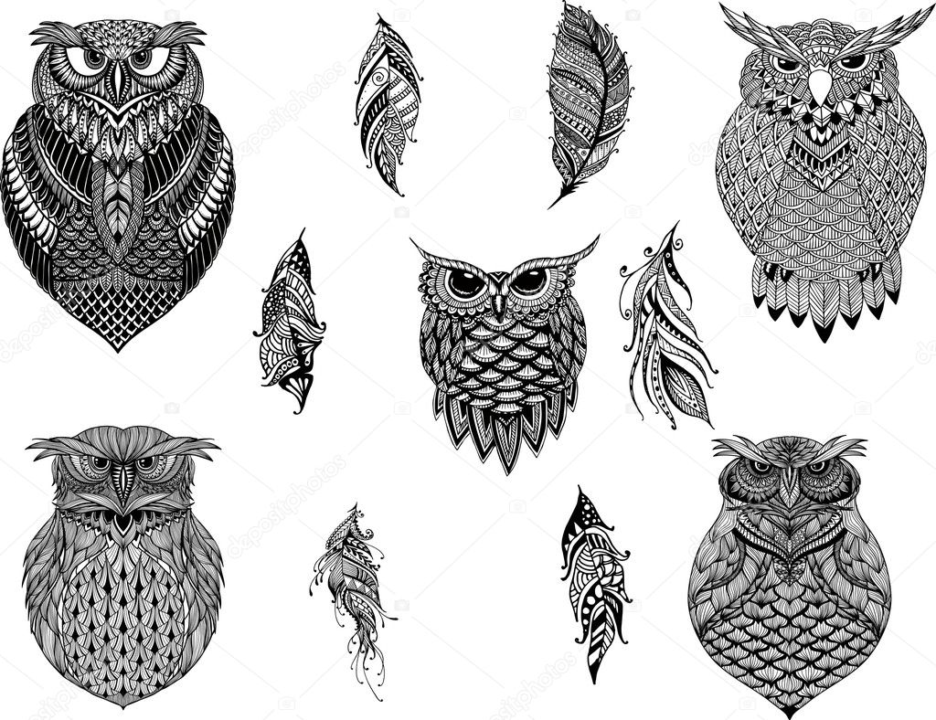 Coloring Pages Totem Animals : Hand drawn zentangle owl bird totem for adult coloring page