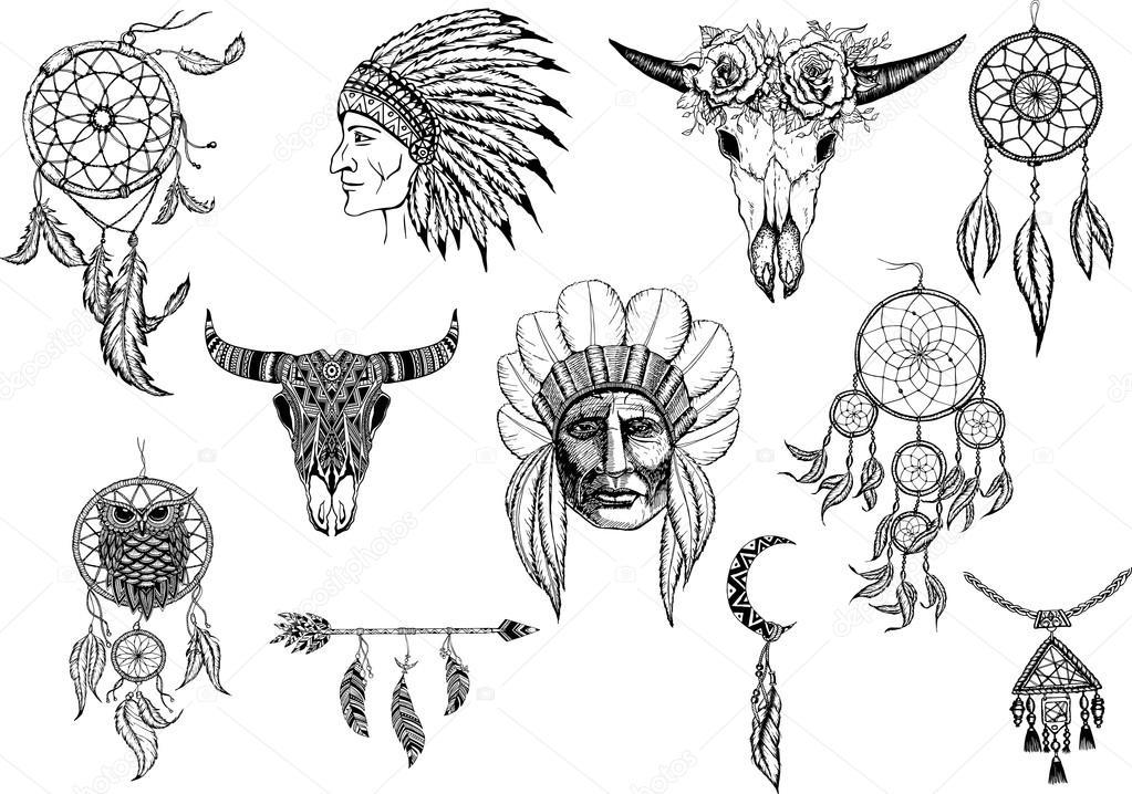 Mano dibujada colección tribal con arco, flechas, plumas ...