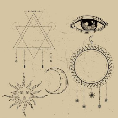 Vector illustration of Moon and Sun with faces, third eye, sacred geometry
