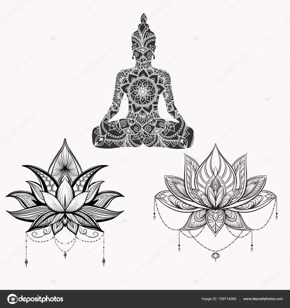 Assis Bouddha Avec La Fleur De Lotus Detaillee Image Vectorielle