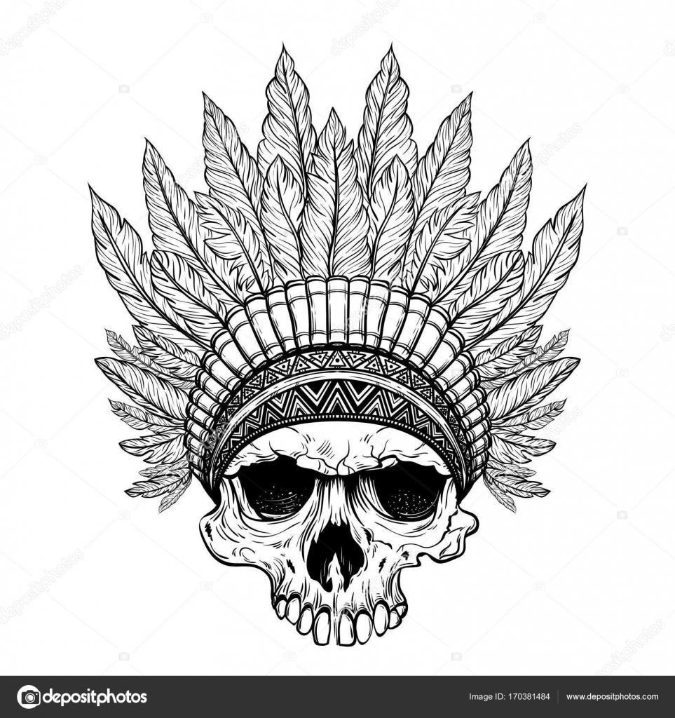 Dibujado a mano tocado indio nativo americano con cráneo humano ...