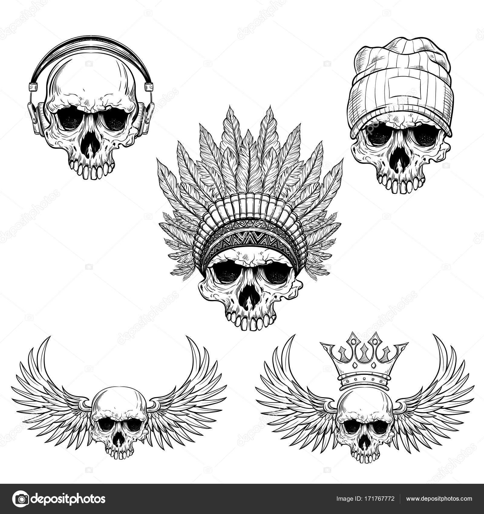 mano dibujada con tapa warbonnet, auriculares, alas, corona del ...