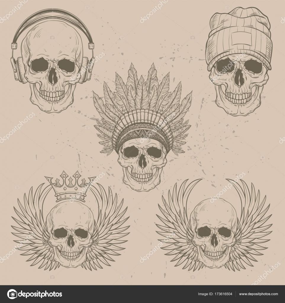 handgezeichnete Anatomie Schädel mit Kappe, Warbonnet, Kopfhörer ...
