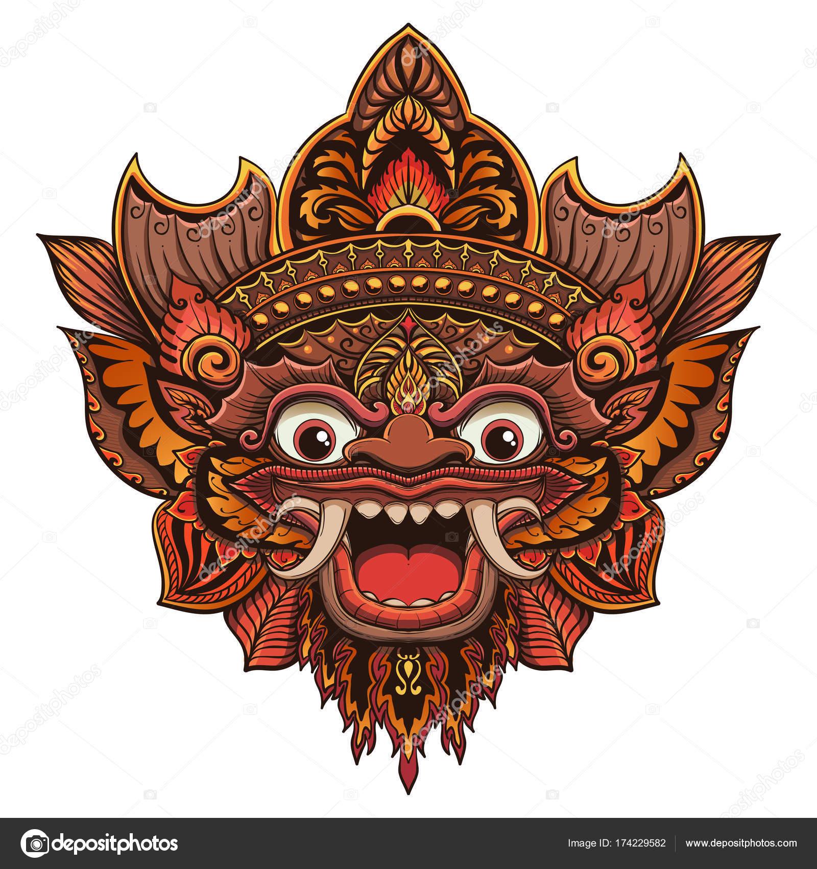Bali Dili Maskesi Geleneksel Ritüel Vektör Anahat Illüstrasyon