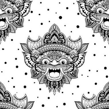 Seamless pattern with barong mask in black and white colors. Hand drawn design for fashion, textile, fabric, wrapping paper, tiles, website wallpaper, background.