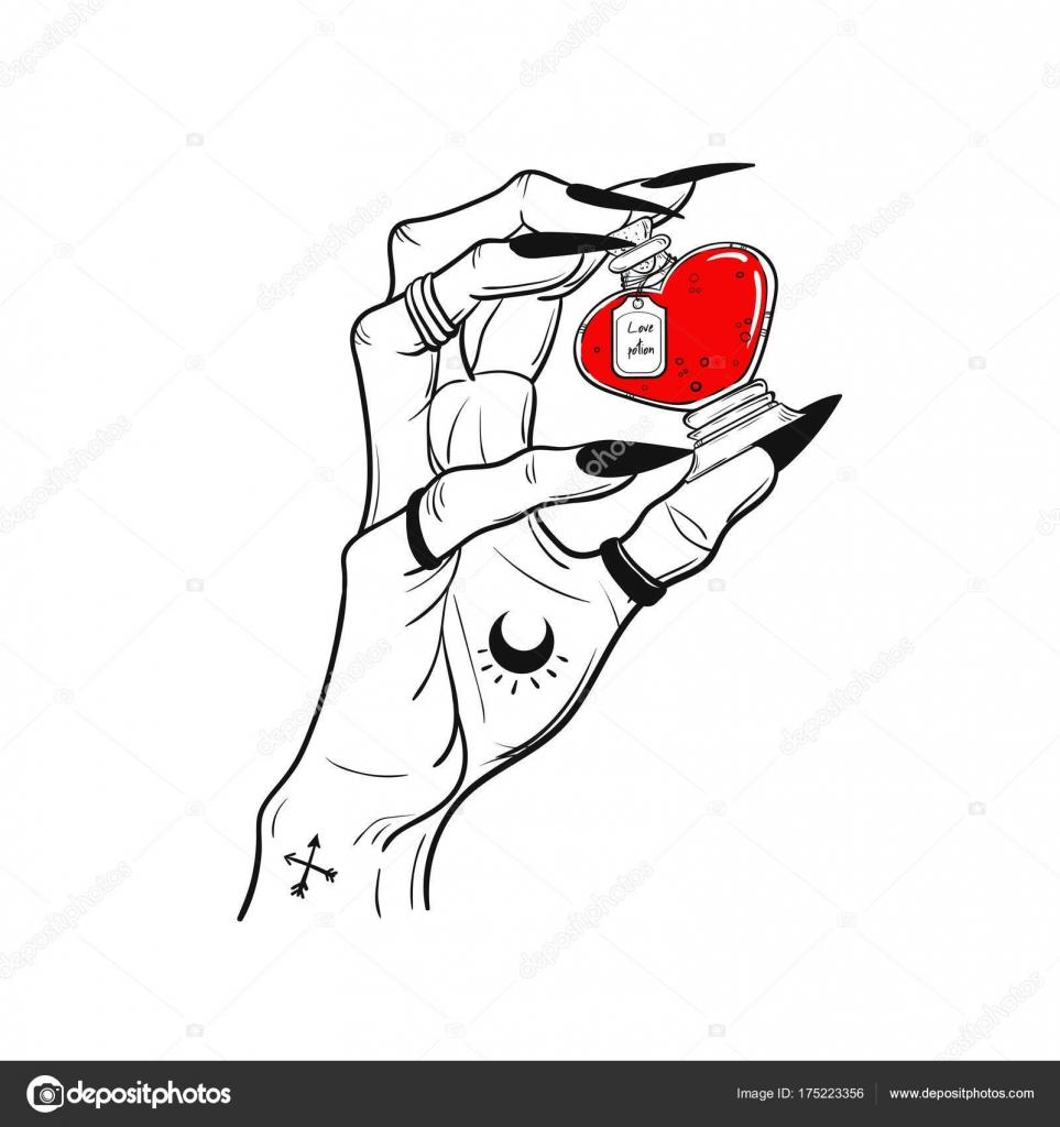 Frau Hand Holding Zaubertrank Vektor Illustration Isoliert Tattoo