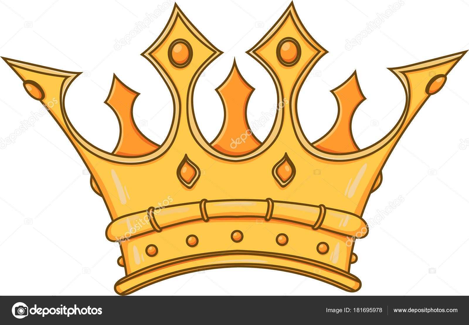 Golden King Crown Hand Drawn Vector Stock Illustration