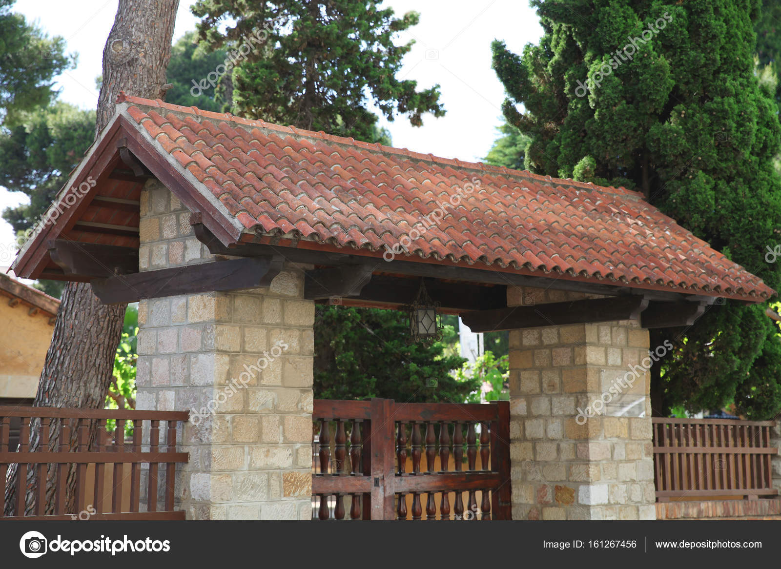 Images Gate Roof Design Stone Gate With The Tiles On The Roof Decorated Facade Stock Photo C Guas 161267456
