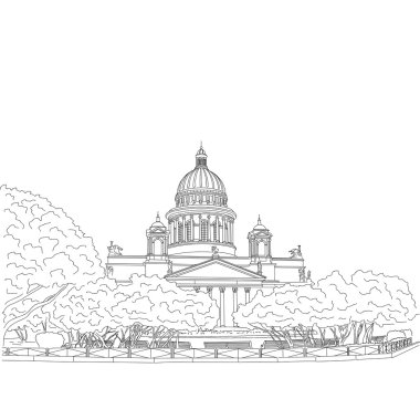 St. Isaac's Cathedral sketching on white background. Saint Petersburg, Russia. Vector illustration for your design clip art vector