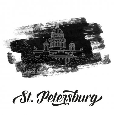 St. Isaac's Cathedral sketching on grunge background. Saint Petersburg, Russia. Vector illustration for your design clip art vector