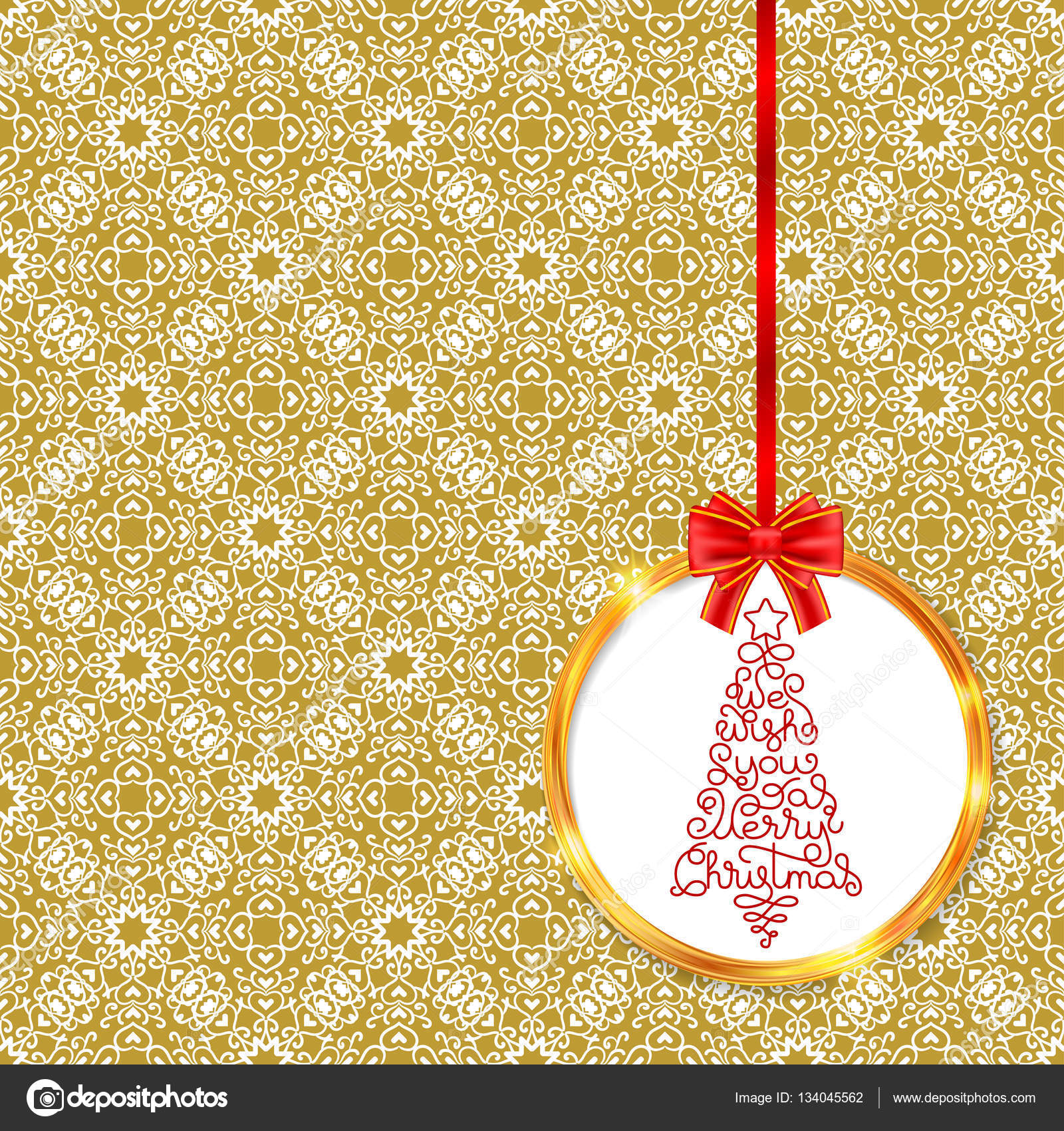 Christmas tree in golden circle — Stock Vector © josephine art