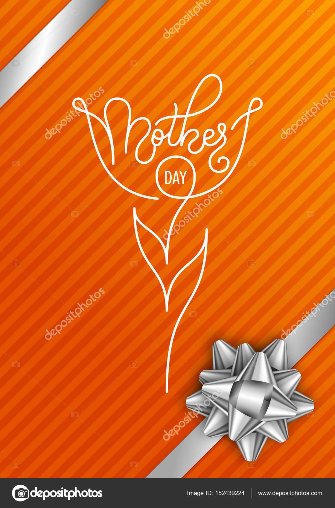 Urlaub Geschenk-Karte mit Hand Schriftzug Muttertag auf orangem ...