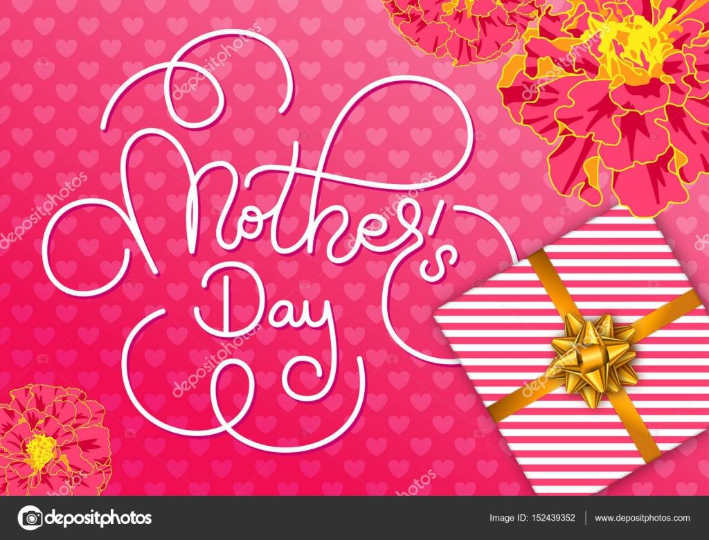 Urlaub-Grußkarte mit Hand Beschriftung Muttertag, Blumen, Geschenk ...