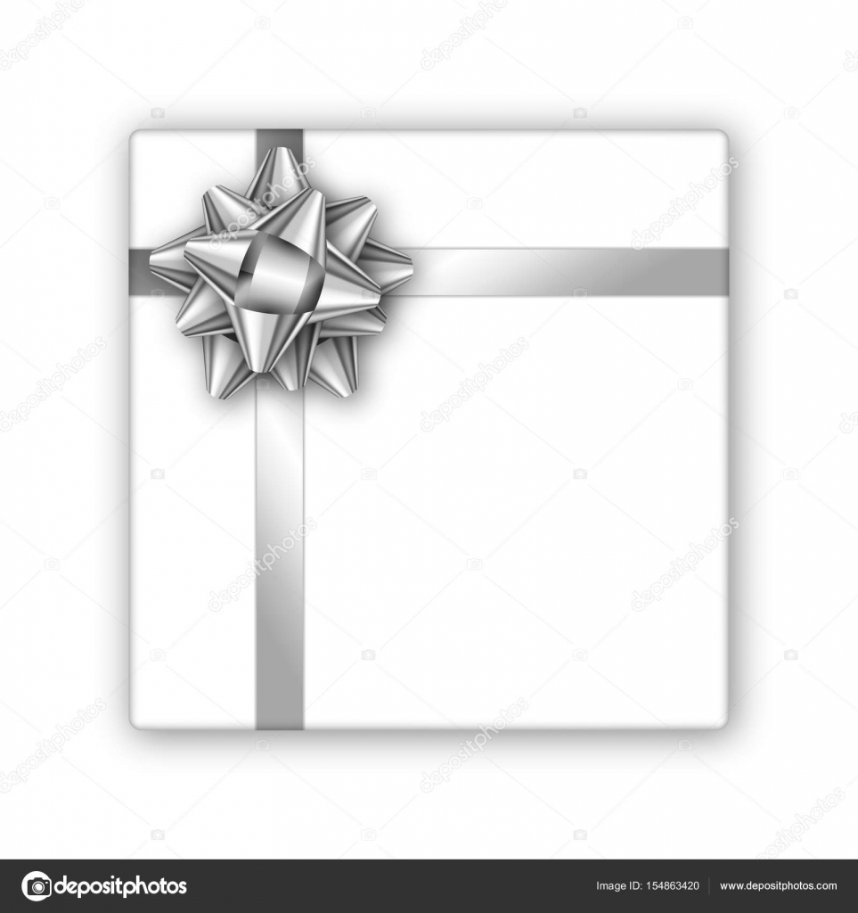 Holiday Gift Box With Silver Ribbon And Bow Template For A Business Card Banner