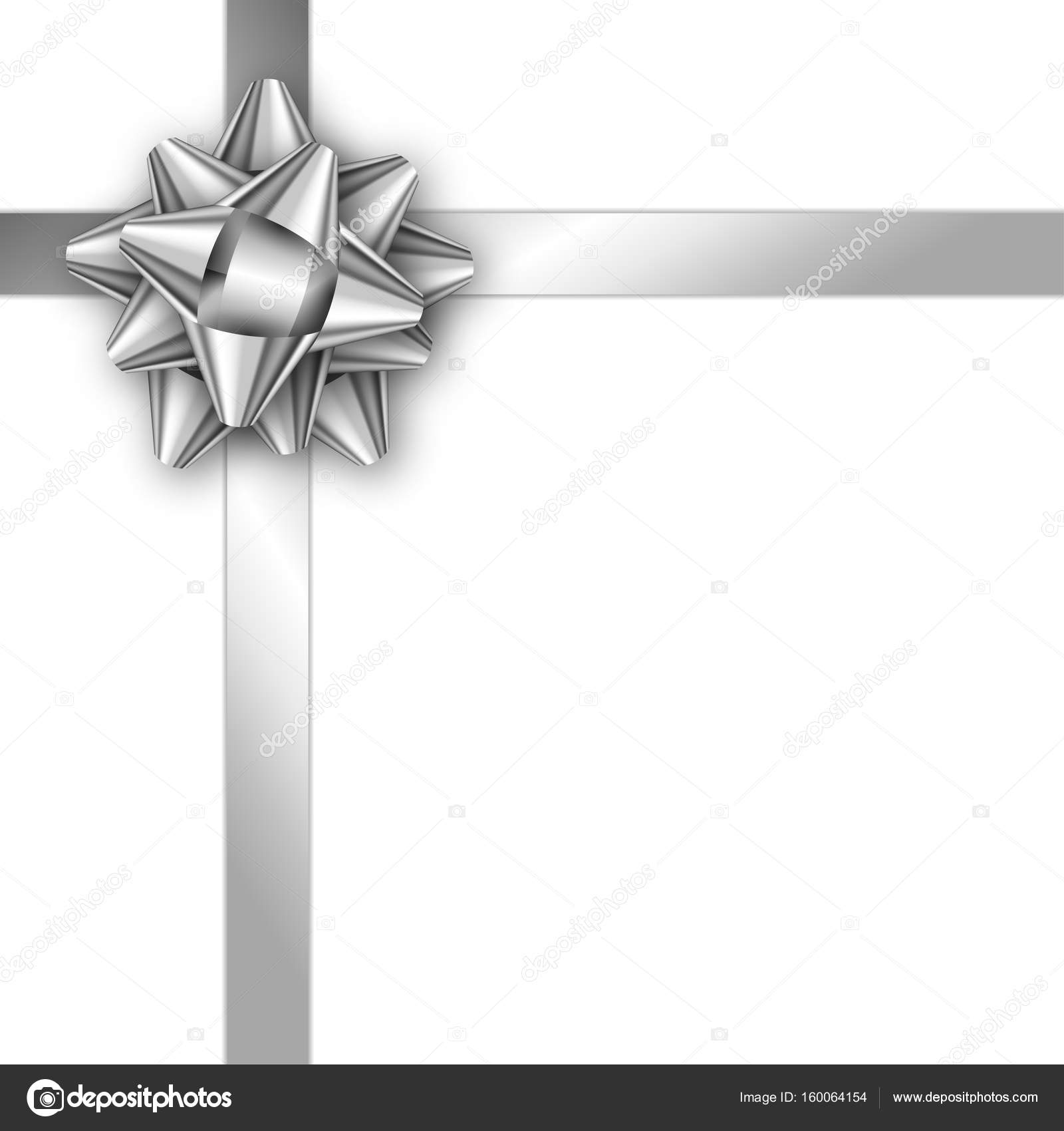 Holiday Gift Card With Silver Ribbon And Bow Template For A Bus Stock Vector