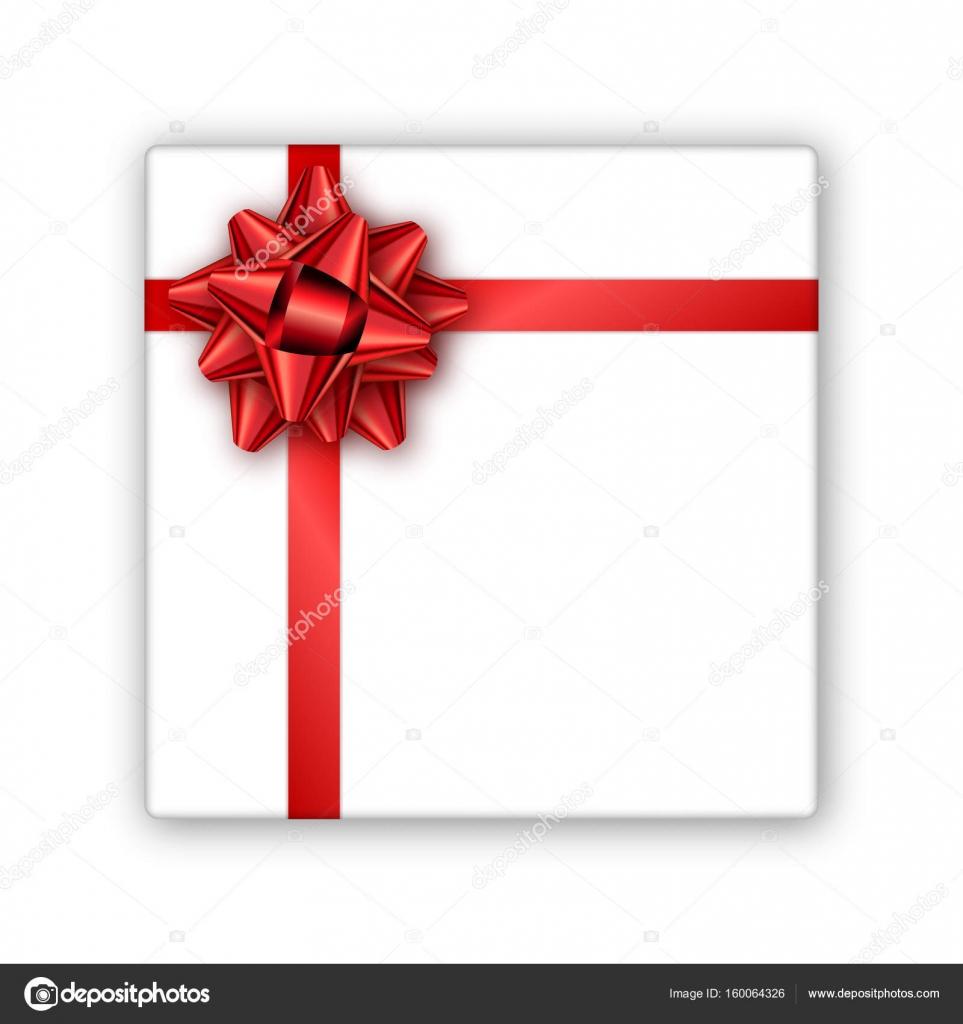 Urlaub Geschenk-Box mit rotem Band und Schleife. Vorlage für ein ...