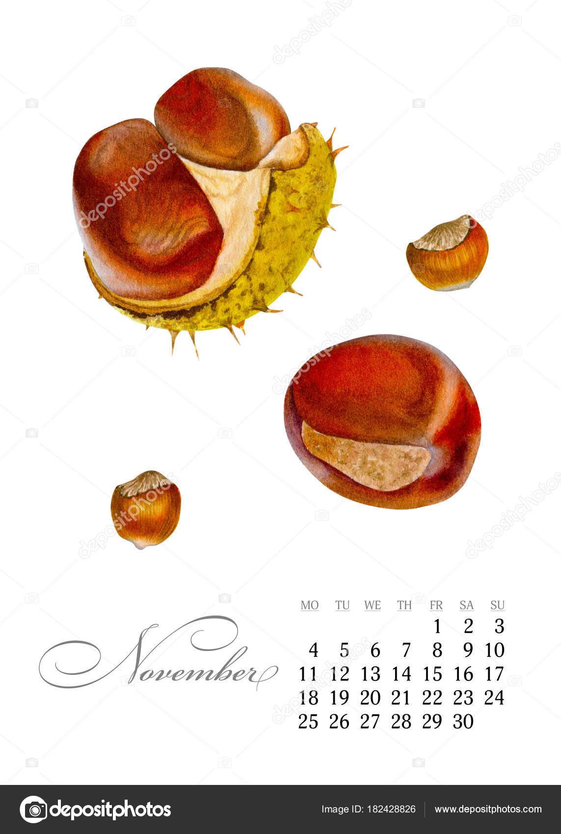 2019 naptár november Elegáns nyomtatható naptár 2019. November. Akvarell gesztenye  2019 naptár november