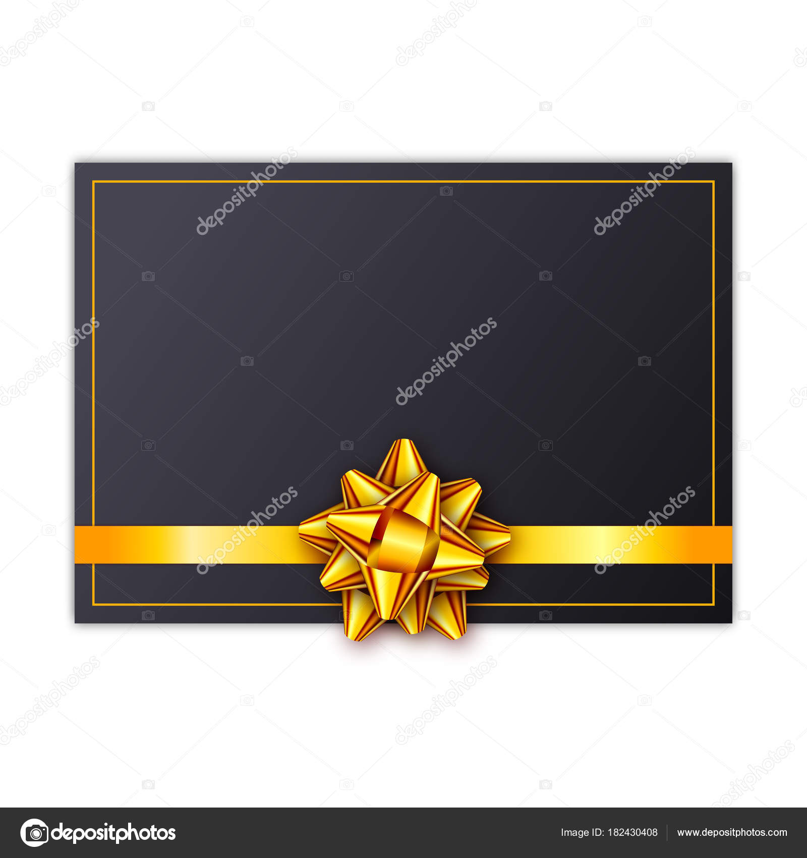 Black Holiday Gift Card With Golden Ribbon And Bow Template For A Business