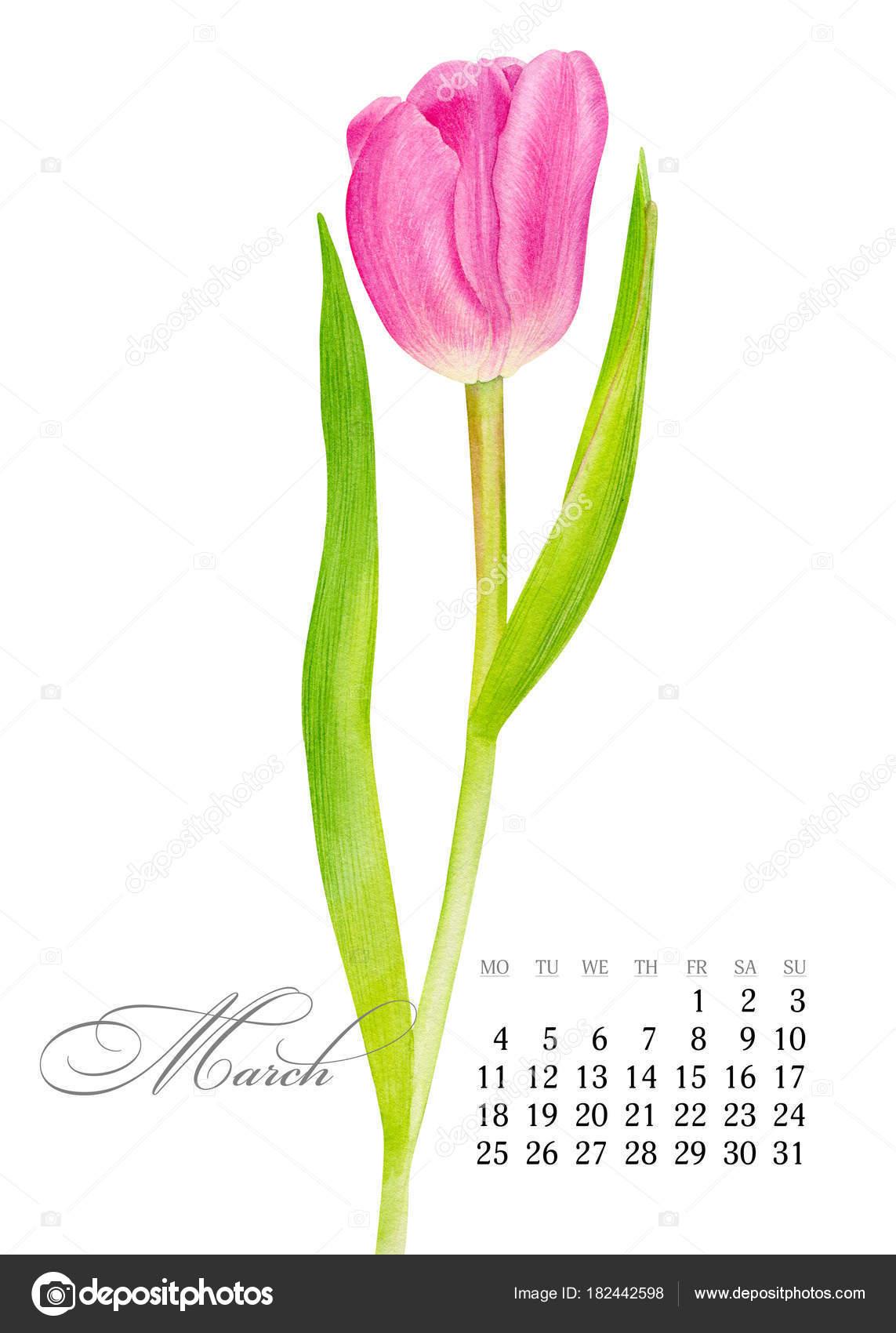 nyomtatható naptár 2019 november Elegáns nyomtatható naptár 2019. Március. Akvarell rózsaszín  nyomtatható naptár 2019 november