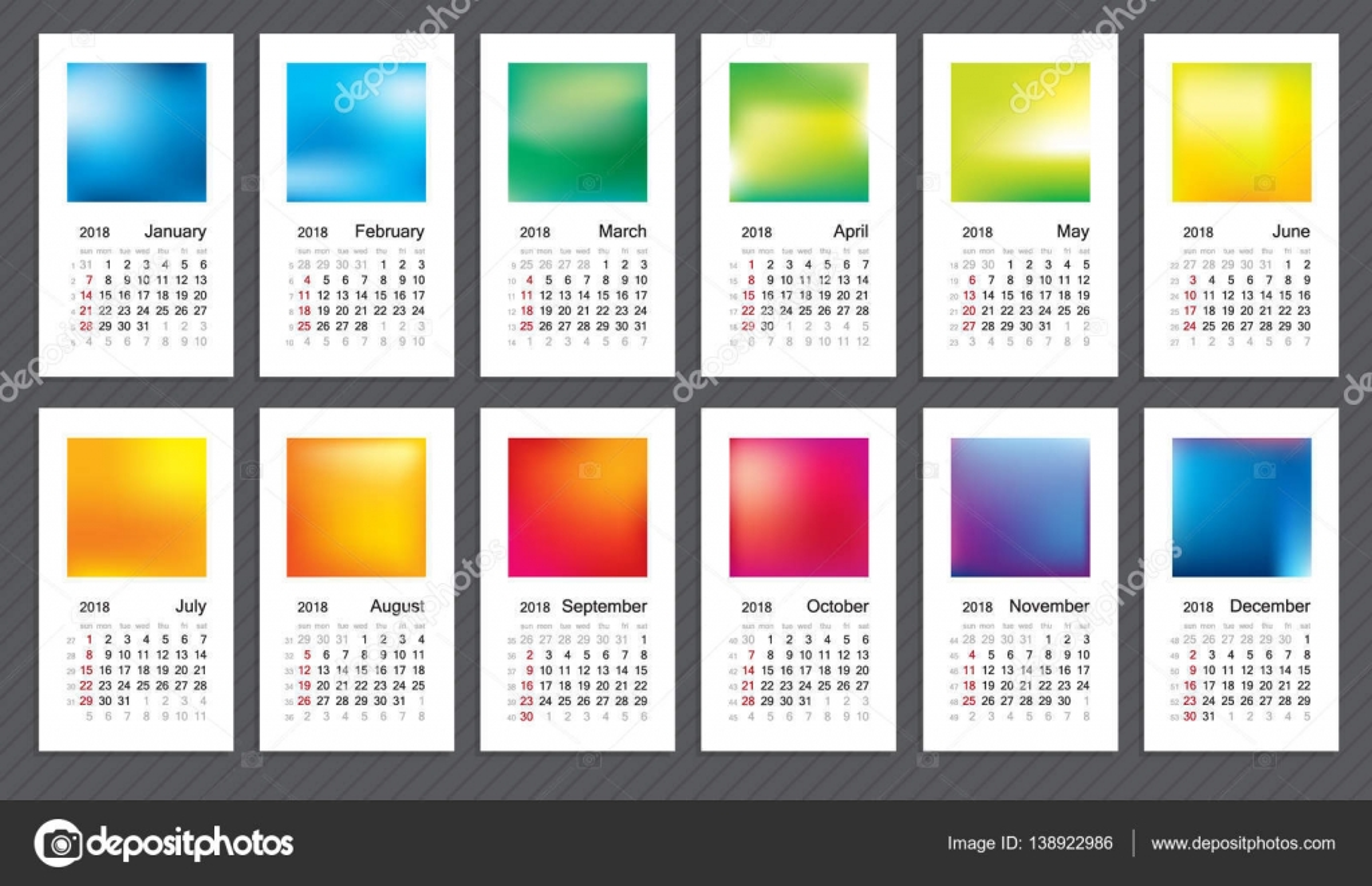 creative calendar 2018 week start on sunday classic grid with