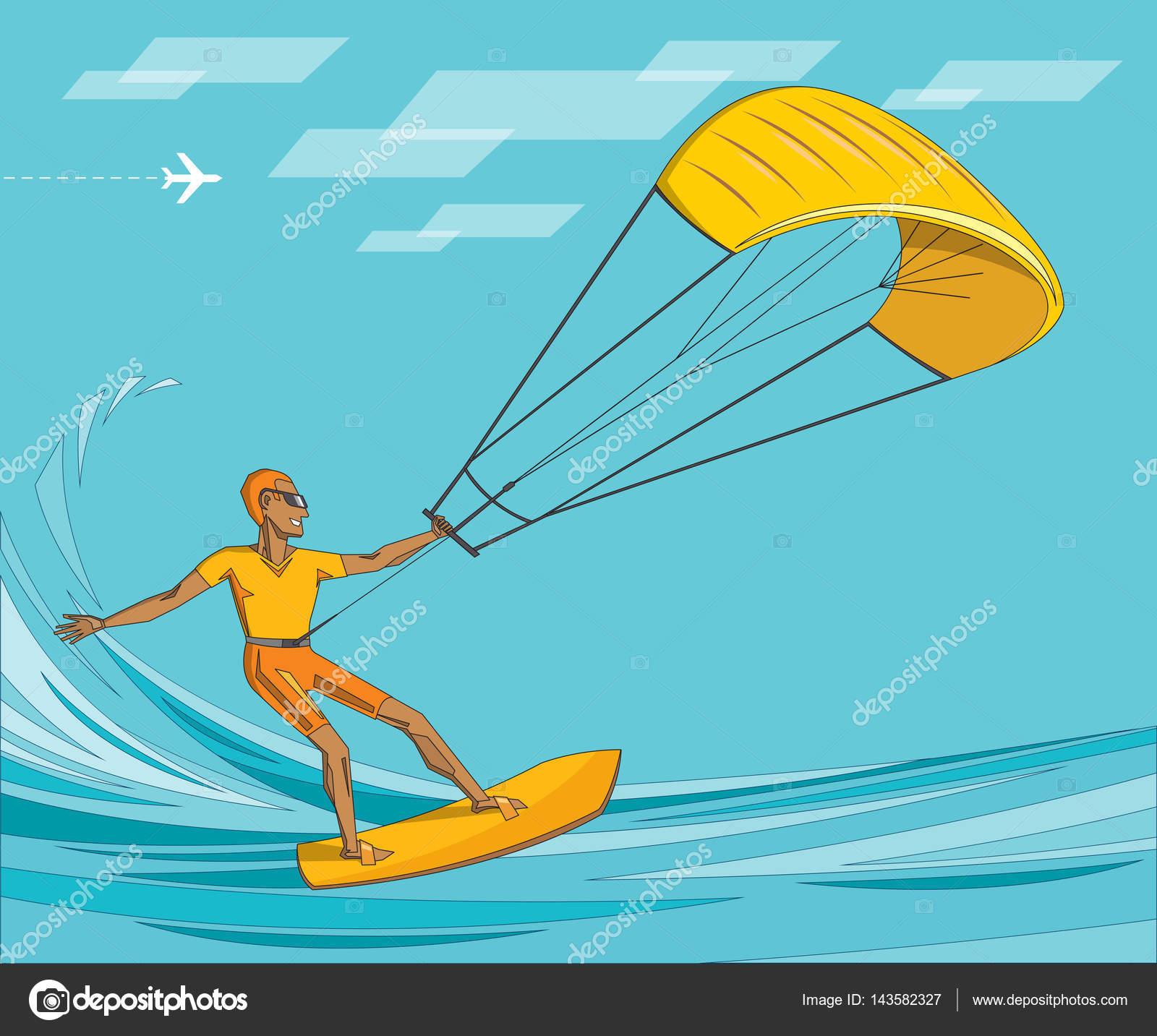 Kite surfista no verão oceano - homem em óculos de sol laranja afoga -  vetor editável 10f06af26c
