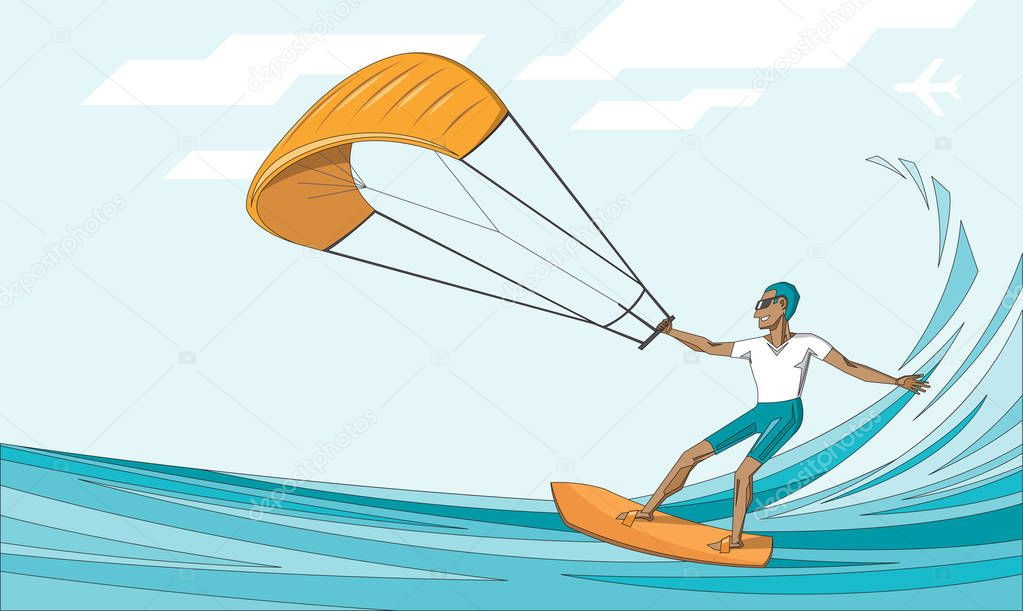 Kite surfer on summer ocean - man in sunglasses on orange waterboard  - vector editable illustration. Extreme sport concept for poster, banner, card.