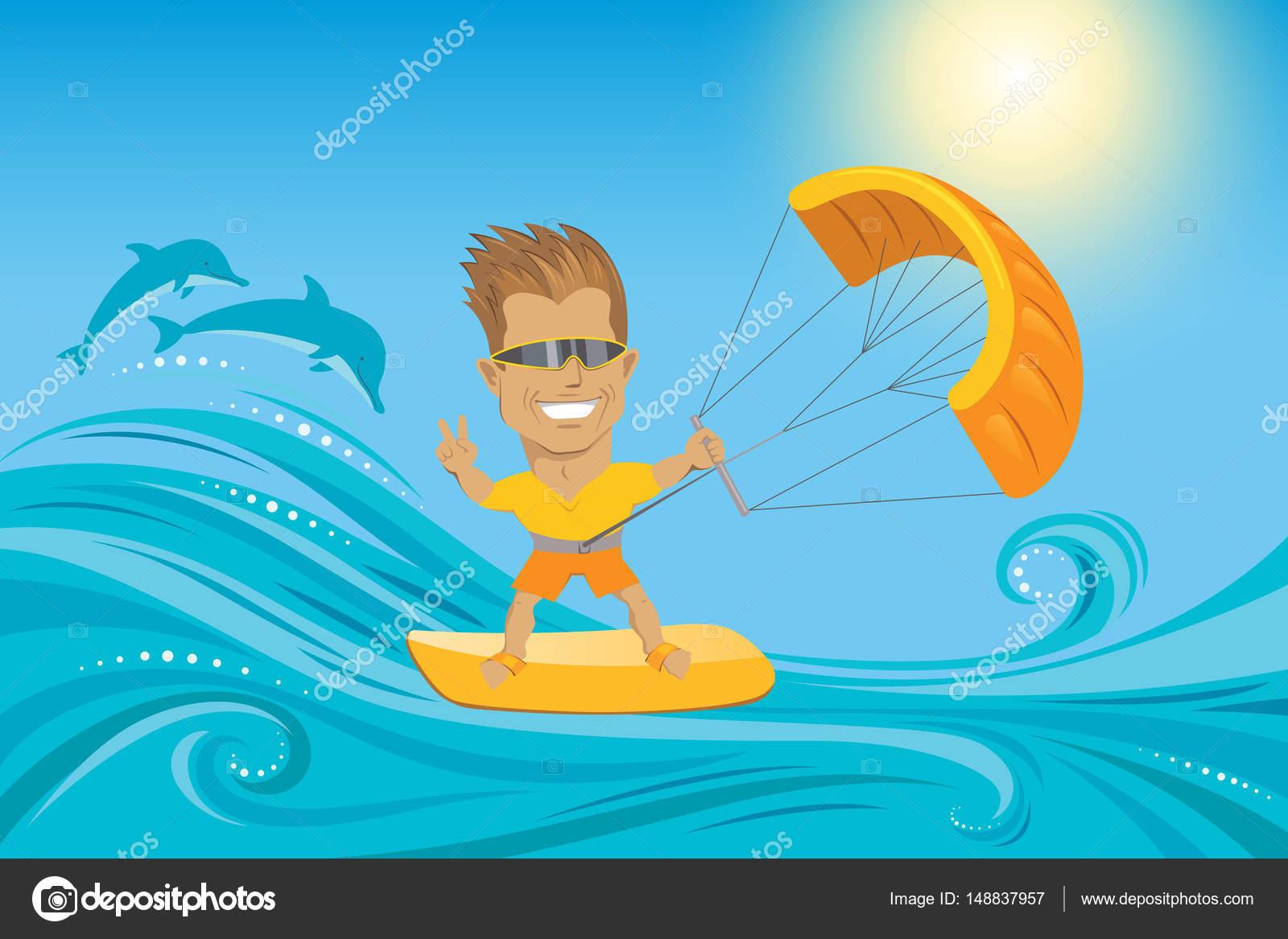 Kitesurf. Homem de óculos de sol, salpicar com dois golfinhos no mar de  verão 995122ea60