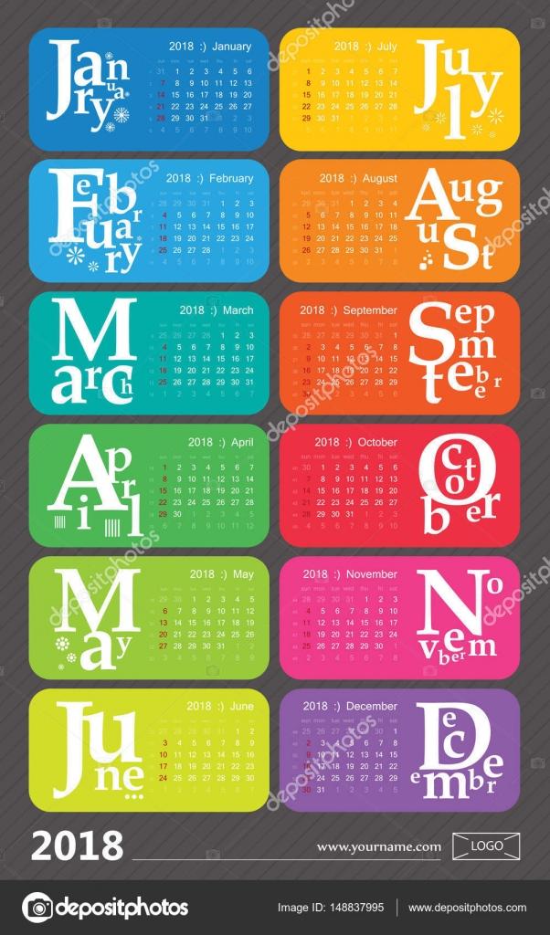 Dise o creativo calendario 2018 con arco iris vacaciones - Disenos de calendarios ...