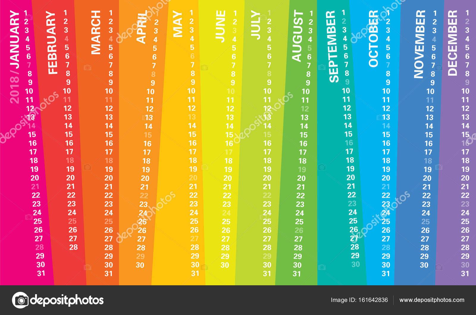 Calendario Rainbow.Calendario Da Parete Creativo 2018 Con Disegno Irregolare