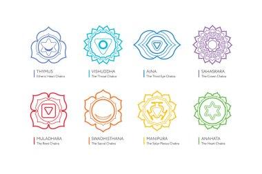 Chakras system of human body - used in Hinduism, Buddhism and Ayurveda. Linear color version. For design, associated with yoga - poster, banner. Vector Sahasrara, Ajna, Vishuddha, Anahata, Manipura, Swadhisthana, Muladhara stock vector