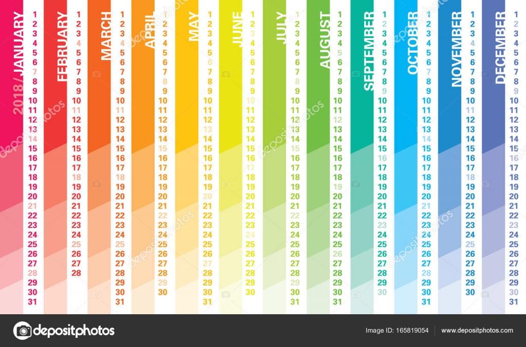 Calendario Rainbow.Calendario Da Parete Creativo 2018 Con Disegno Del Rainbow