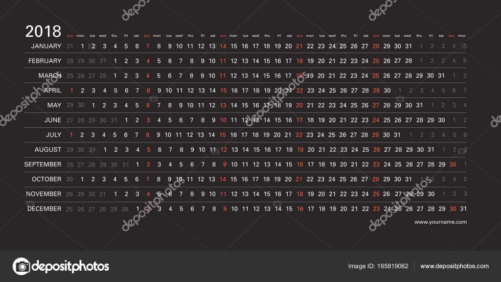 Kreative Wandkalender 2018 mit horizontalen schwarzen Design, rote ...