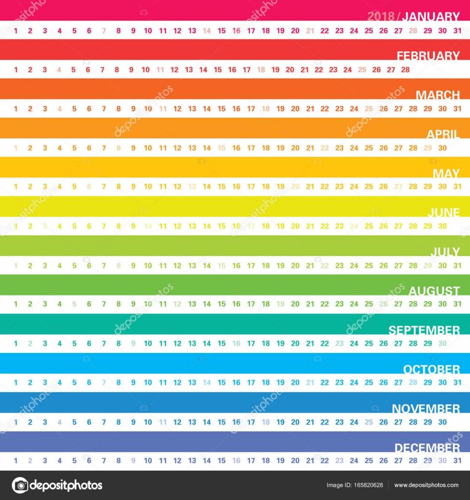 Calendar Template Rainbow