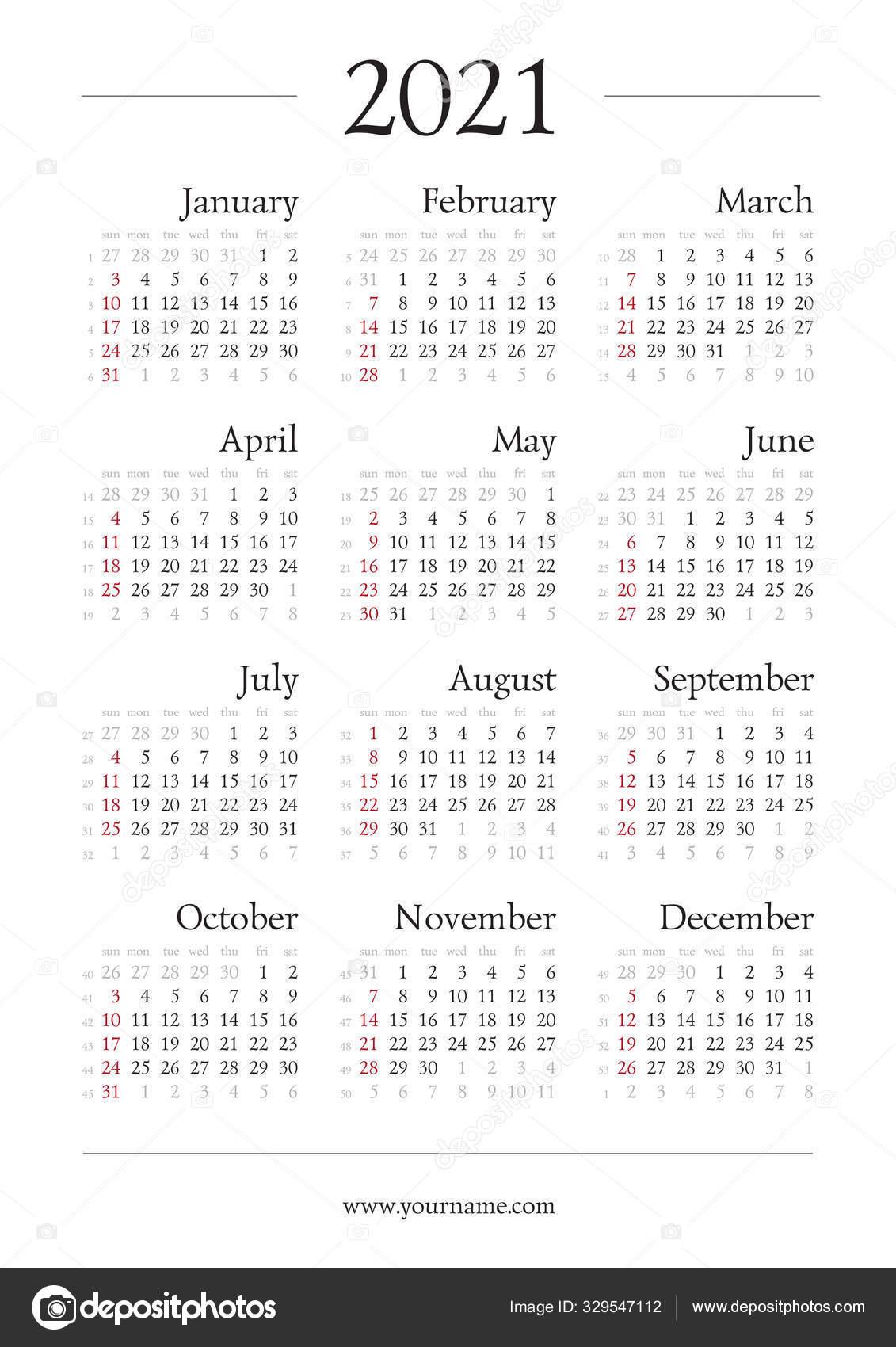 Classic Gregorian Calendar 2021 Year Page 210X297Mm Week Start