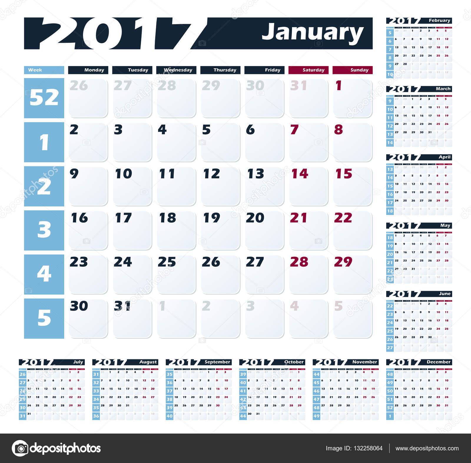 Calendario De Semanas.Imagenes Calendarios 2017 Por Semanas Plantilla De Diseno De