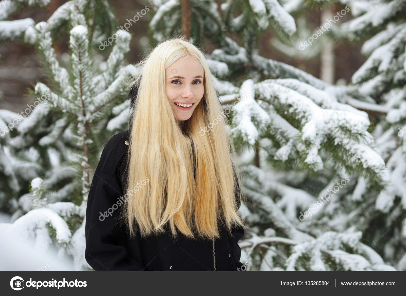 e68b9ec48 Close up winter portrait  young blonde woman dressed in a warm ...