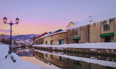 View of Otaru Canel in Winter season with sunset, Hokkaido - Jap