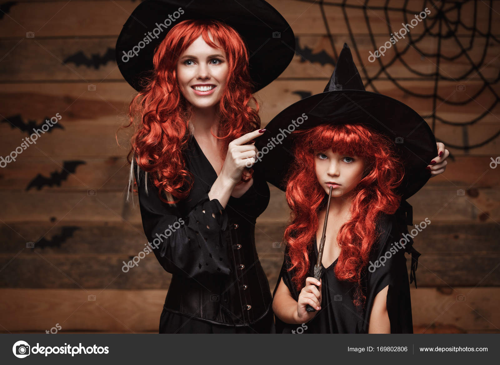 Halloween Concept - Beautiful caucasian mother dress up for her daughter in witch costumes and long curly hair ready for celebrating Halloween.  sc 1 st  Depositphotos & Halloween Concept - Beautiful caucasian mother dress up for her ...