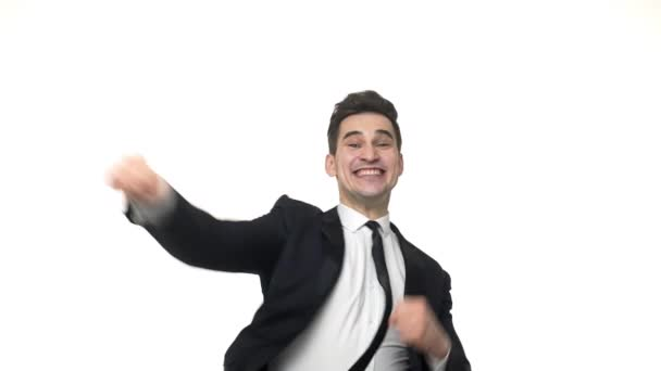Slow motion: Caucasian Businessman crazy happy celebrate dancing.