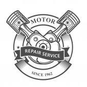 Photo Engine pistons on crankshaft  - auto repair service emblem