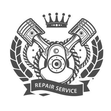 Auto repair service emblem - symbolic engine