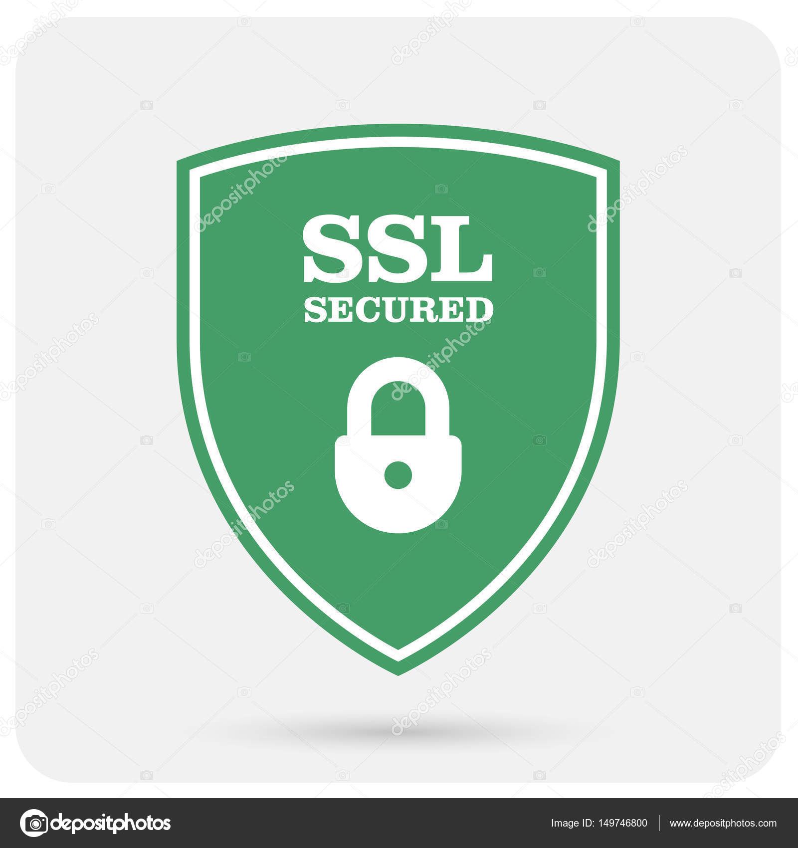 Ssl Certificate Shield With Padlock Secure Website Emblem Stock