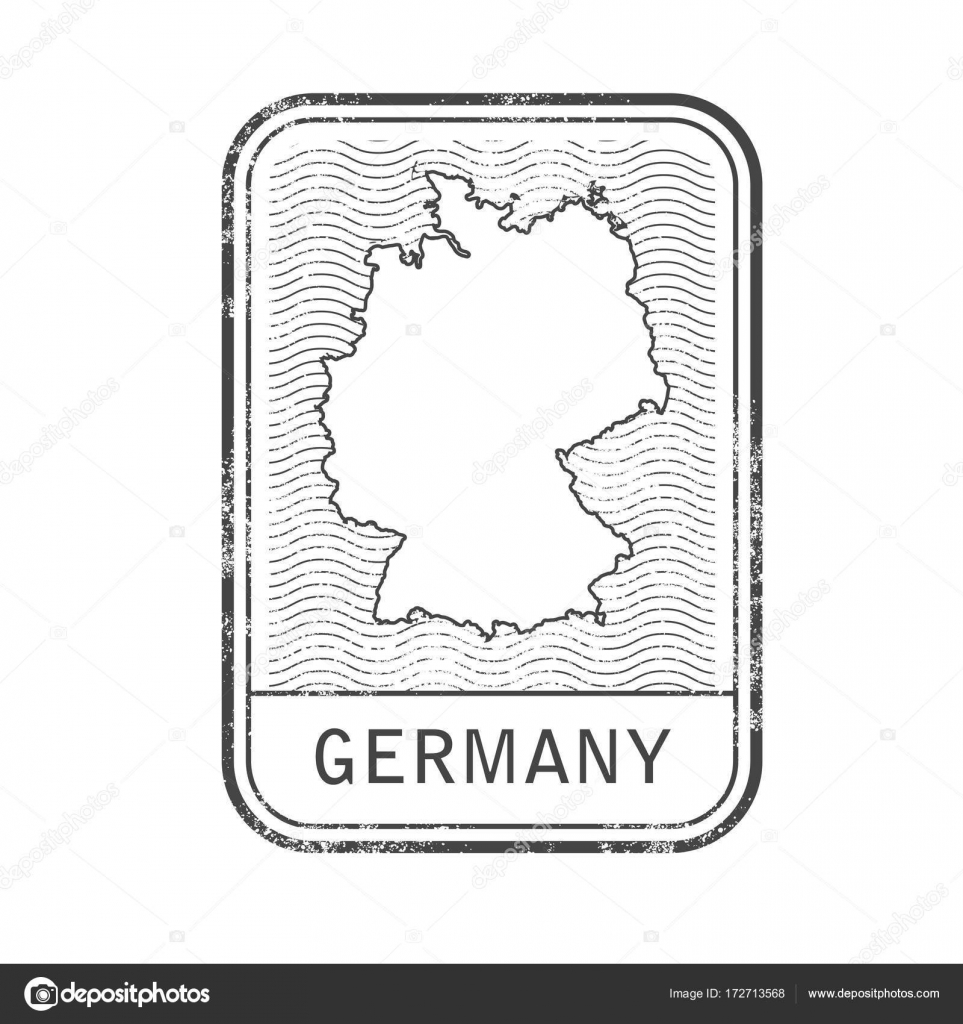 Stamp With Contour Of Map Of Germany Contour Of Germany Stock
