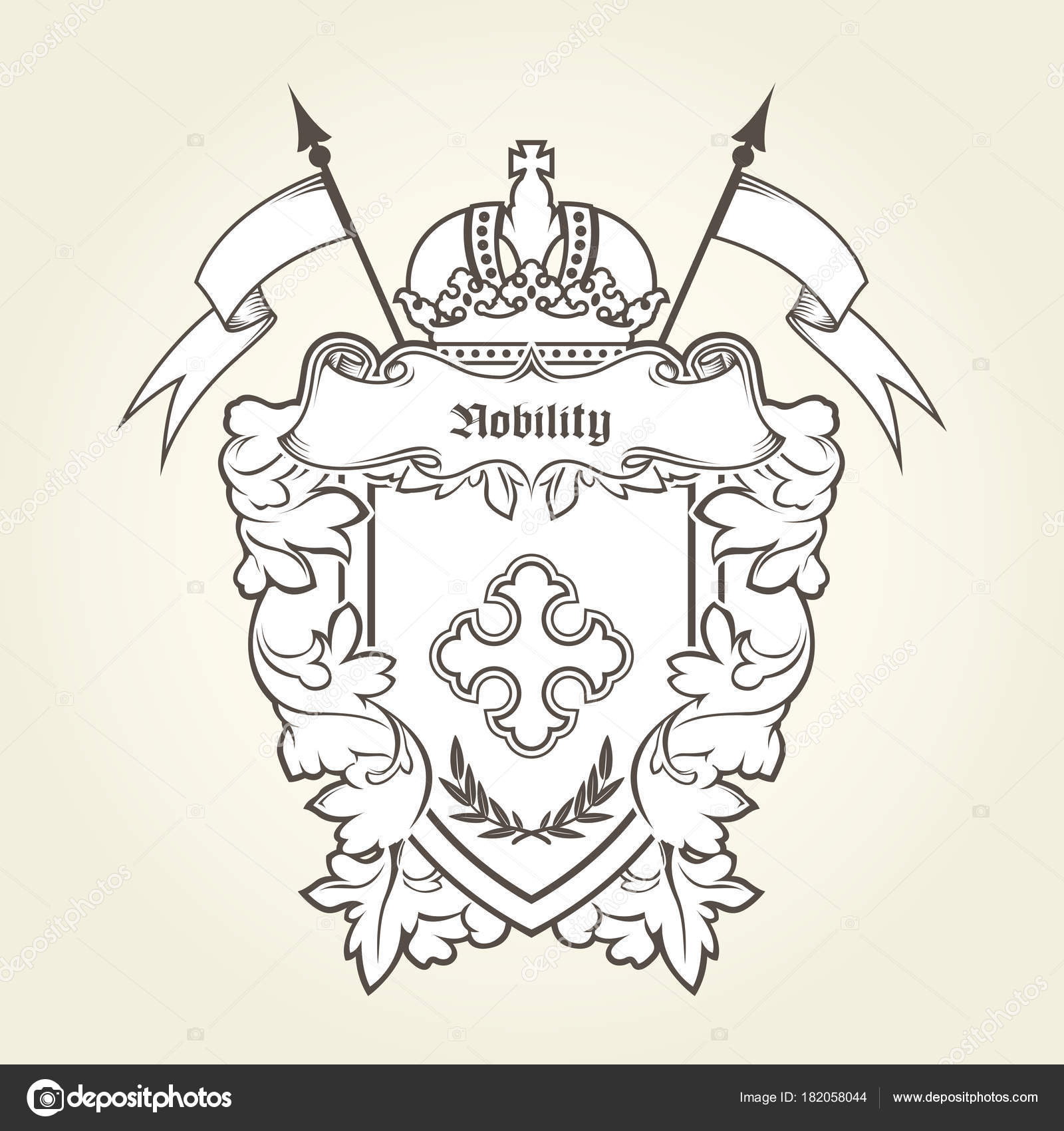 Heraldic Emblem Royal Coat Of Arms With Imperial Symbols Shie