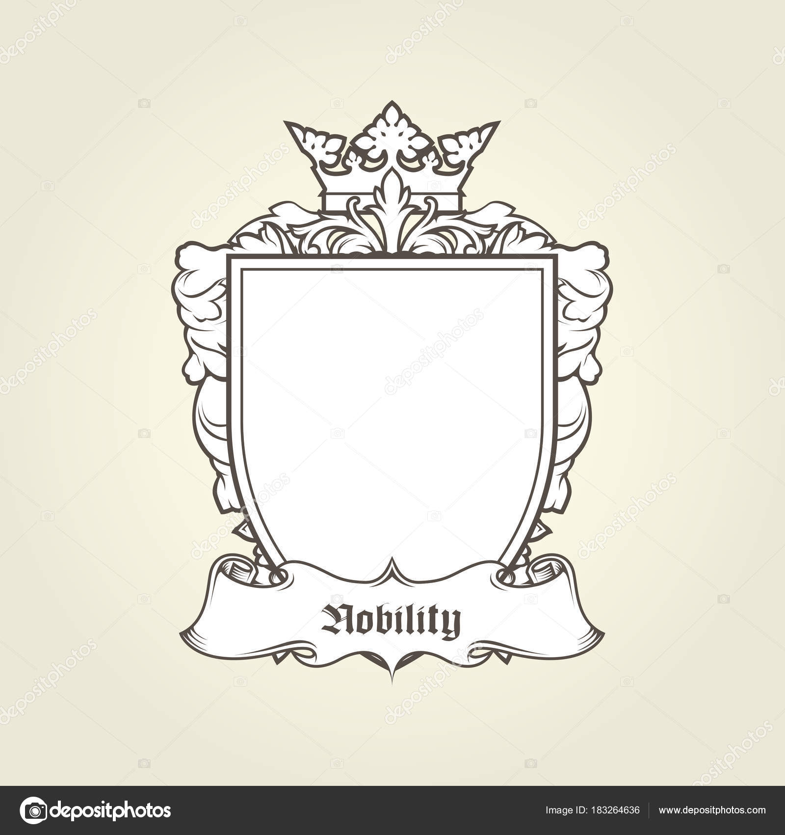 Blank Template Of Coat Of Arms Shield With Crown And Banner H
