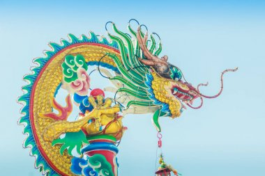 Beautiful Dragon Sculpture on the Chinese Pavilion Roof