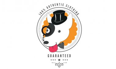 cute dog vector background badge
