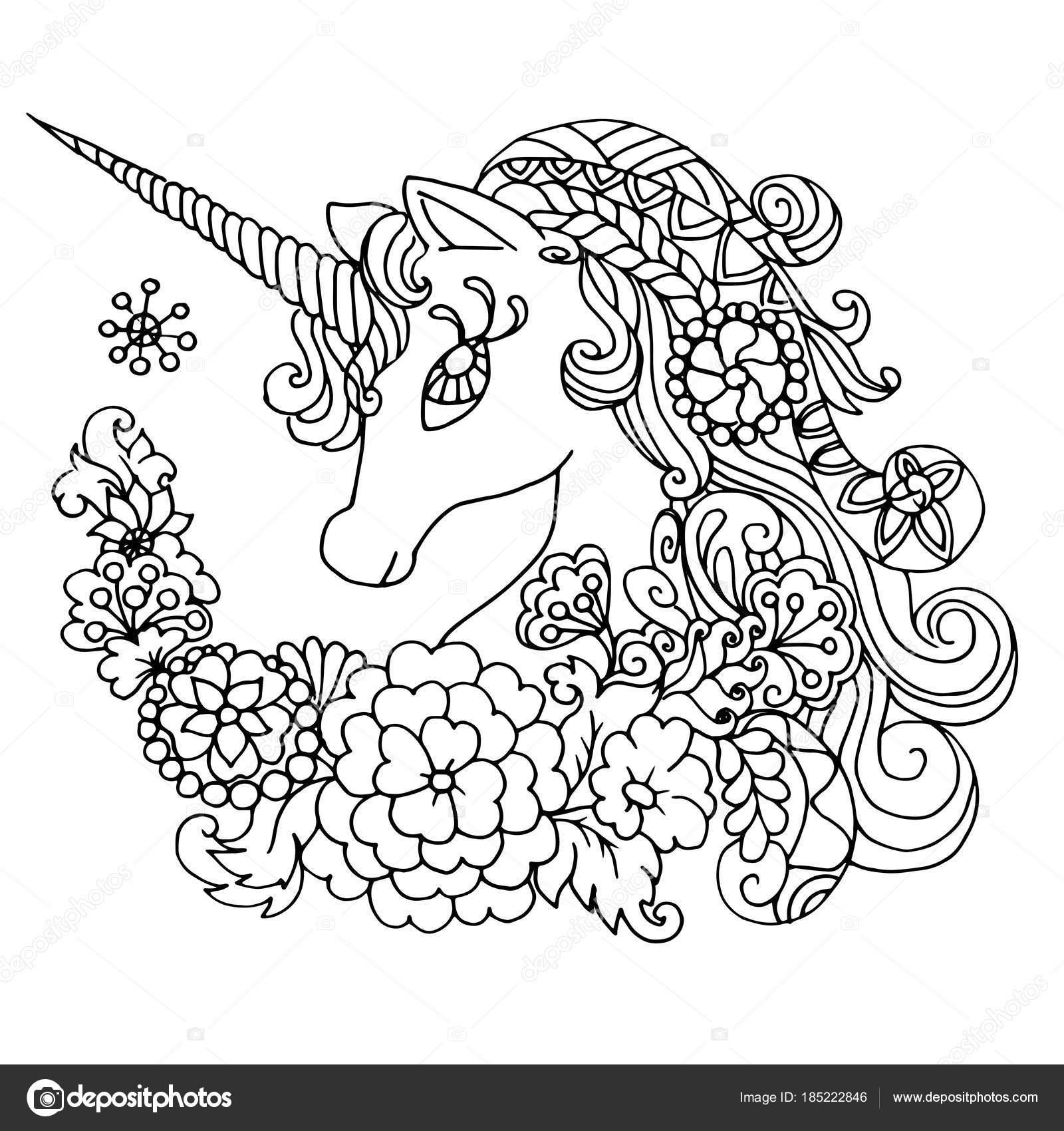 unicórnio branco fabuloso de colorir livro vetores de stock